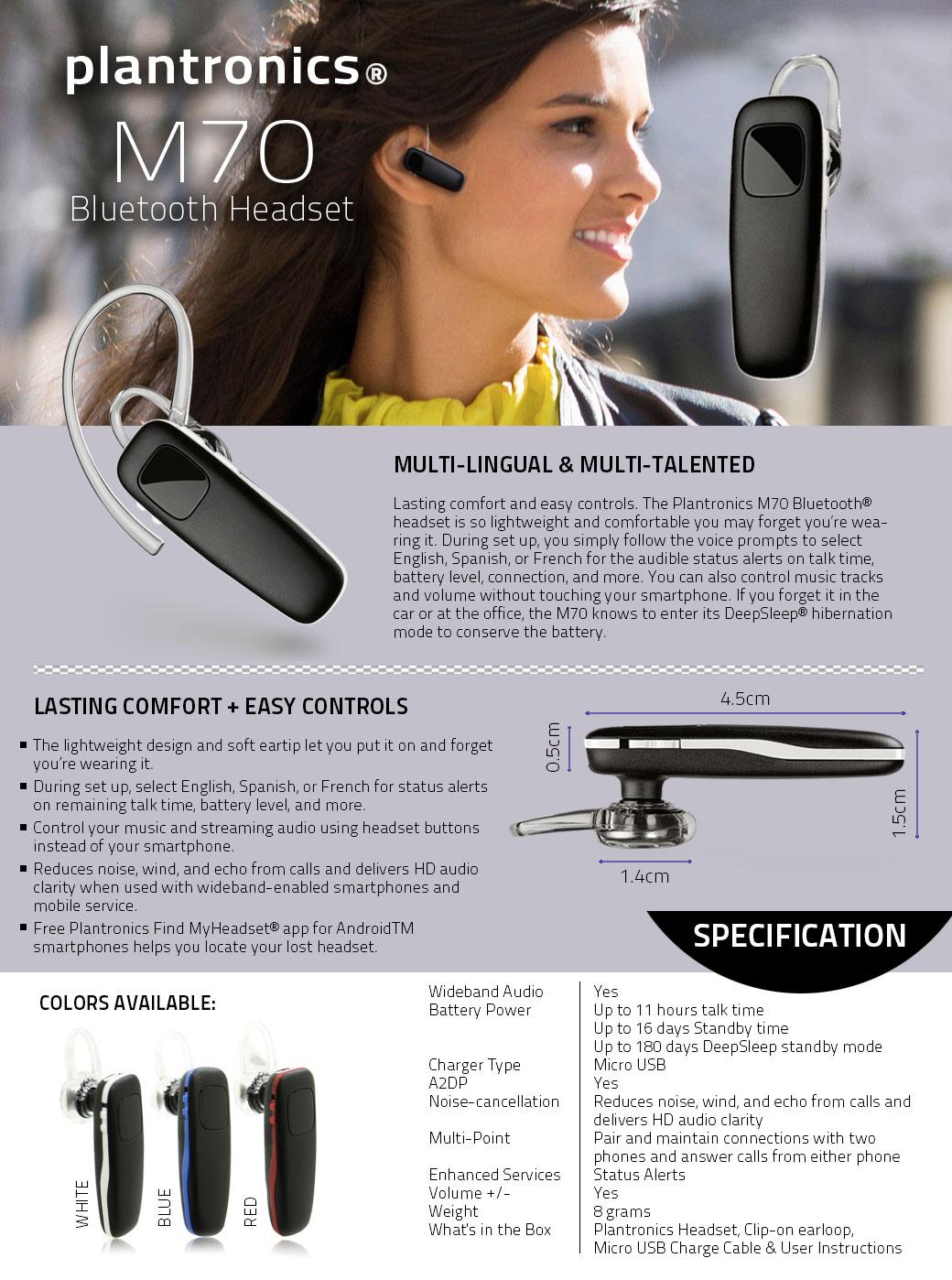 plantronics m70 light weight wireless bluetooth headset. Black Bedroom Furniture Sets. Home Design Ideas