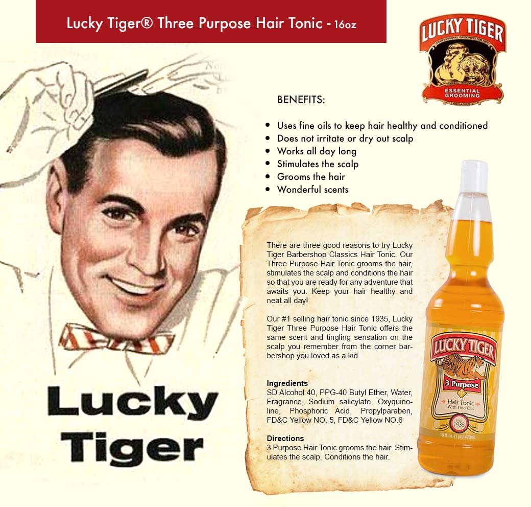 Men Hair Tonic 1950s: Lucky Tiger 3 Purpose Hair Tonic With Fine Oils To